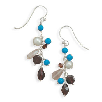 Turquoise and Multistone Earrings 925 Sterling Silver- DISCONTINUED