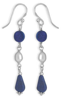 Cultured Freshwater Pearl and Lapis Earrings 925 Sterling Silver
