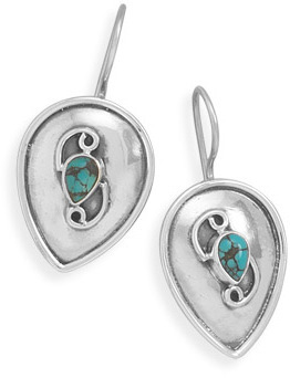 Turquoise Shield Design Earrings 925 Sterling Silver - DISCONTINUED