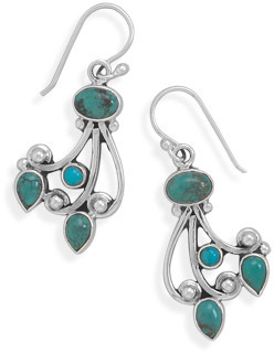 Multishape Turquoise Earrings 925 Sterling Silver