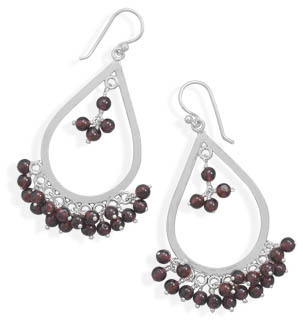 Garnet Bead Drop Earrings 925 Sterling Silver