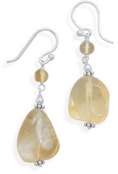 Citrine Nugget French Wire Earrings 925 Sterling Silver