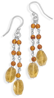 Double Strand Carnelian and Citrine Earrings 925 Sterling Silver - DISCONTINUED