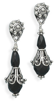 Ornate Black Onyx Post Earrings 925 Sterling Silver - DISCONTINUED