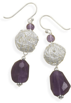 Amethyst and Wire Bead Earrings 925 Sterling Silver