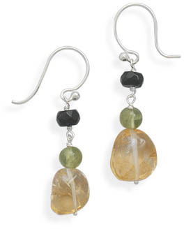 Chunky Citrine and Multistone Drop Earrings 925 Sterling Silver - DISCONTINUED