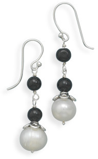 Cultured Freshwater and Black Onyx Earrings 925 Sterling Silver