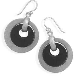 Brushed Sterling Silver and Wood Earrings
