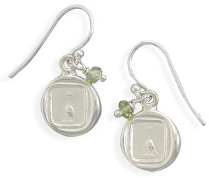 Dove Tag Charm and Peridot Bead Earrings 925 Sterling Silver