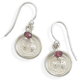 For Ever Hearts Charm and Garnet Bead Earrings 925 Sterling Silver