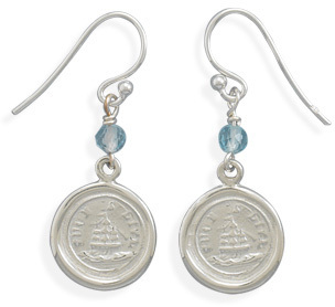 Such is Life Ship Charm with Blue Topaz Bead Earrings 925 Sterling Silver