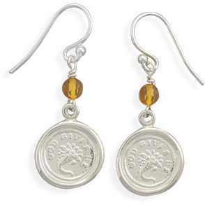 God Gives Us Charm and Amber Bead Earrings 925 Sterling Silver