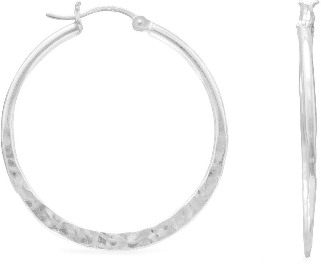 Hammered Click Hoops 925 Sterling Silver
