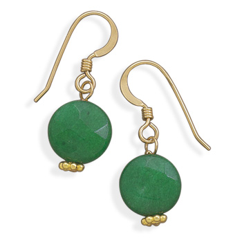 14/20 Gold Filled Green Jade Earrings - DISCONTINUED