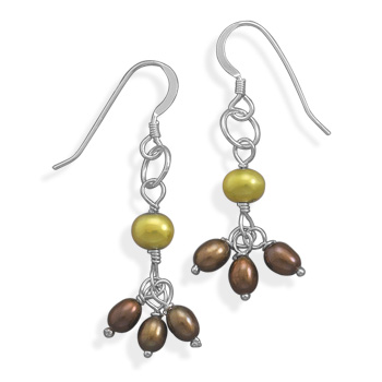 Chocolate and Lime Cultured Freshwater Pearl Earrings 925 Sterling Silver - DISCONTINUED