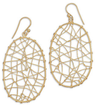 14 Karat Gold Plated Oval Wire Design Drop Earrings 925 Sterling Silver