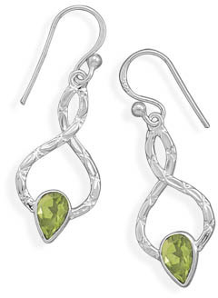 Textured Peridot Earrings 925 Sterling Silver - DISCONTINUED