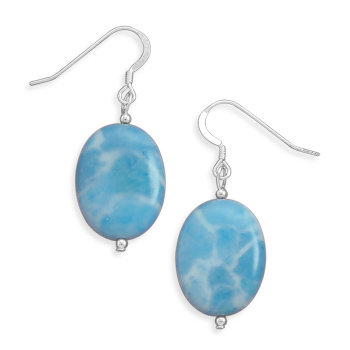Larimar Bead Earrings 925 Sterling Silver - DISCONTINUED