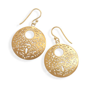Brushed 14 Karat Gold Plated Earrings 925 Sterling Silver - DISCONTINUED
