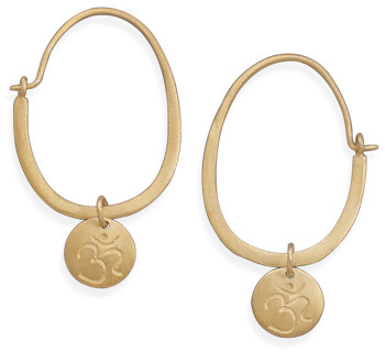 14 Karat Gold Plated Hoop with Om Tag Earrings 925 Sterling Silver