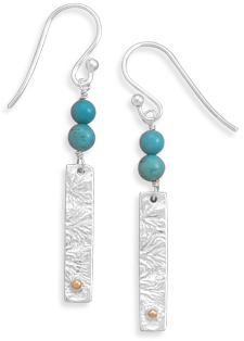 Textured Silver with Turquoise Bead Drop Earrings 925 Sterling Silver