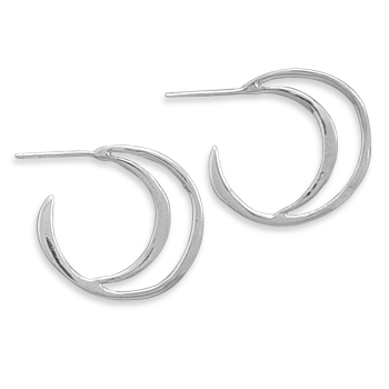 Textured  Hoop Earrings 925 Sterling Silver - DISCONTINUED