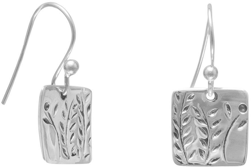 French Wire Earrings with Fern Design 925 Sterling Silver