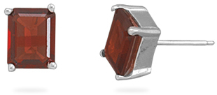 Garnet Stud Earrings 925 Sterling Silver