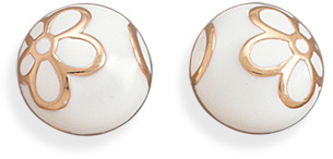 White Enamel and 14 Karat Rose Gold Plated Earrings 925 Sterling Silver - DISCONTINUED