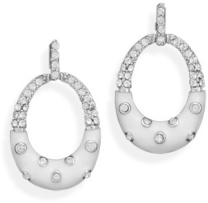 White Enamel and CZ Oval Earrings 925 Sterling Silver