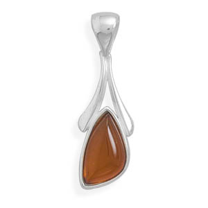 Abstract 3 Side Amber Wishbone Pendant 925 Sterling Silver- DISCONTINUED