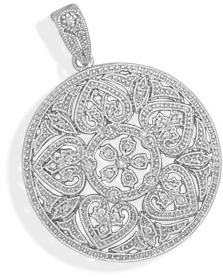 Rhodium Plated Pendant with CZs and Heart Design 925 Sterling Silver - LIMITED STOCK