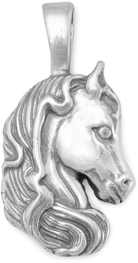 Oxidized Horse with Mane Pendant 925 Sterling Silver