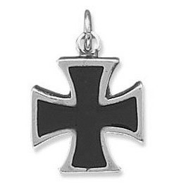 Black Enamel Maltese Cross Charm 925 Sterling Silver - LIMITED STOCK