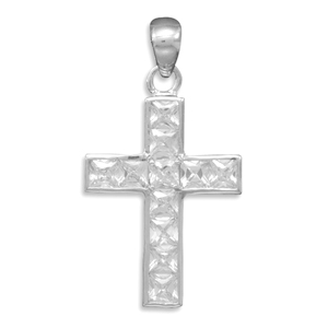 Rhodium Plated CZ Cross Pendant 925 Sterling Silver- DISCONTINUED