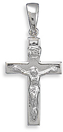Rhodium Plated Crucifix Pendant 925 Sterling Silver