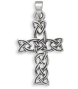 Oxidized Woven Celtic Cross Pendant 925 Sterling Silver