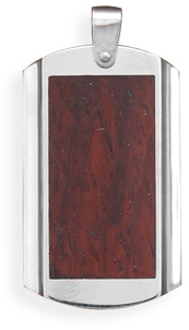 316L Stainless steel wood inlay pendant. - DISCONTINUED