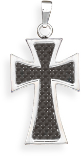 316L Stainless steel cross pendant with carbon fiber checked design.