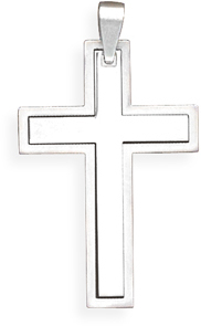 316L Stainless steel two piece cross pendant.