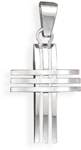 316L Stainless steel 3 row design cross pendant. - DISCONTINUED