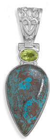Chrysocolla and Peridot Pendant 925 Sterling Silver - DISCONTINUED