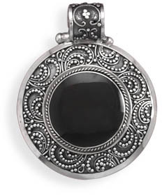 Hinged Orange Black Shell Pendant 925 Sterling Silver