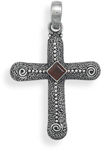 Oxidized Cross with Garnet Center 925 Sterling Silver