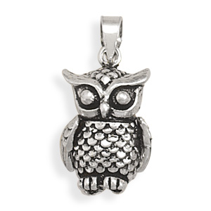 Movable Owl Pendant 925 Sterling Silver - DISCONTINUED