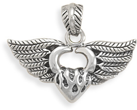 Angel Wings Heart Pendant 925 Sterling Silver - DISCONTINUED