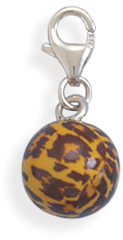 Orange and Brown Enamel Bead Charm 925 Sterling Silver