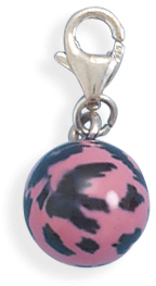 Pink and Black Enamel Bead Charm 925 Sterling Silver