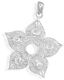 Wire Flower Design Pendant 925 Sterling Silver - DISCONTINUED