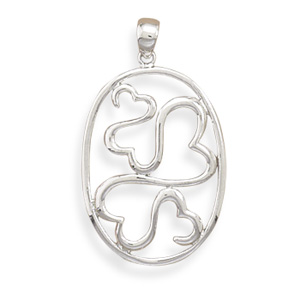 Oval Open Heart Pendant 925 Sterling Silver- DISCONTINUED